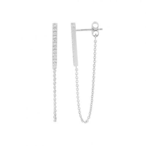 Sterling Silver Bar Chain Earrings