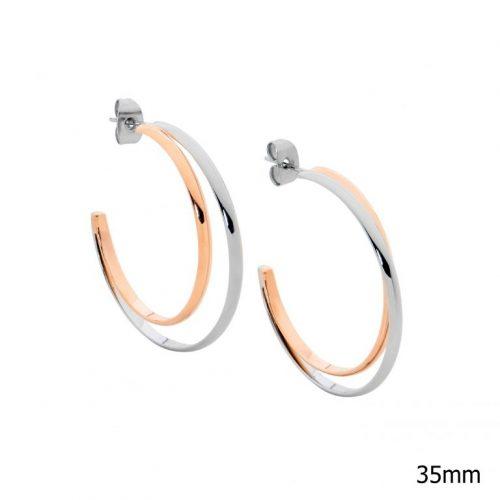 Two Tone Stainless Steel Hoop Earrings