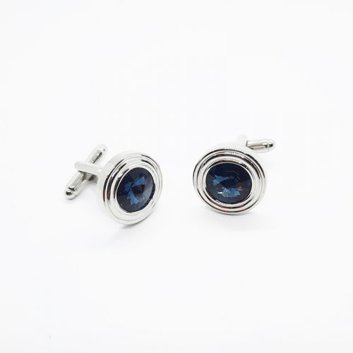 Deep Blue Swarovski Crystal Round Cufflinks