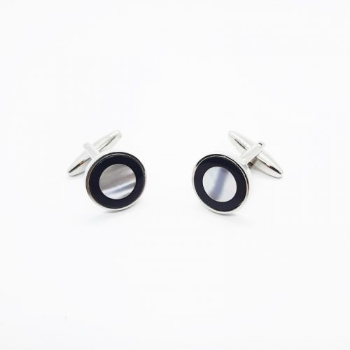 Round Black Onyx and MOP Cufflinks