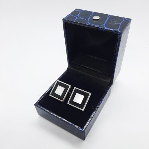 Black Onyx and Mother of Pearl Square Cufflinks