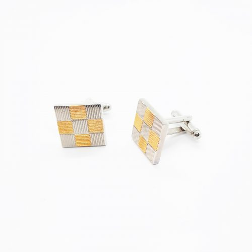 Gold and Silver Squares Cufflinks