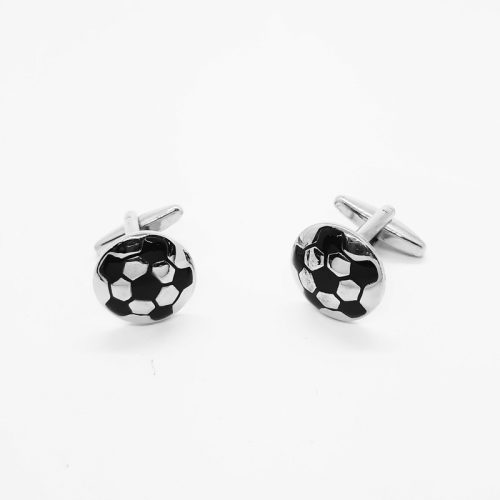 Black and Silver Soccer Balls Cufflinks
