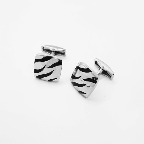 Black and Silver Tiger Print Cufflinks