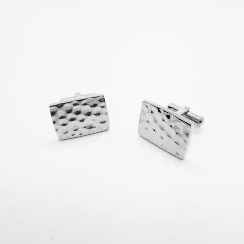Hammered Silver Colour Cufflinks