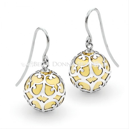 Antique Silver and Brass Lace Harmonyball Earrings
