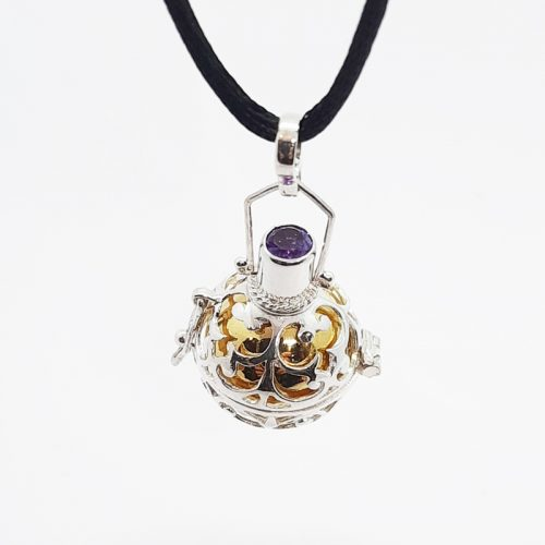 Amethyst Silver Lace Locket Harmonyball