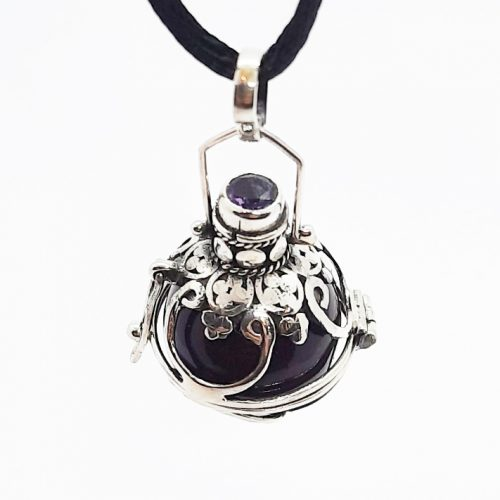 Sterling Silver Locket with Amethyst Stone and Purple Enamel Harmony Ball