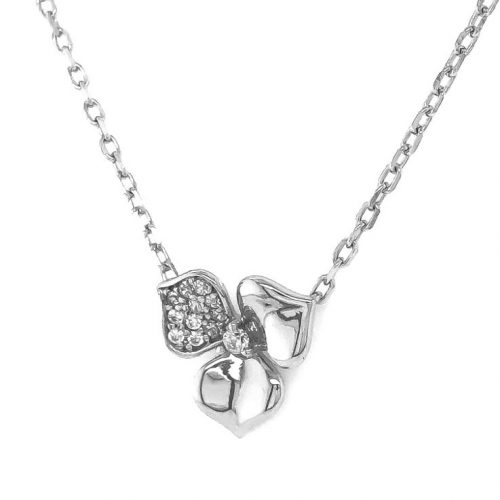 Silver Flower Necklace with CZ