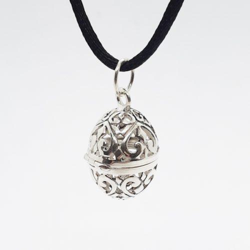 Silver Filigree Egg Locket