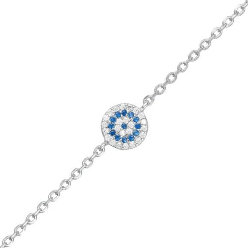 Rhodium Plated Sterling Silver Evil Eye Bracelet