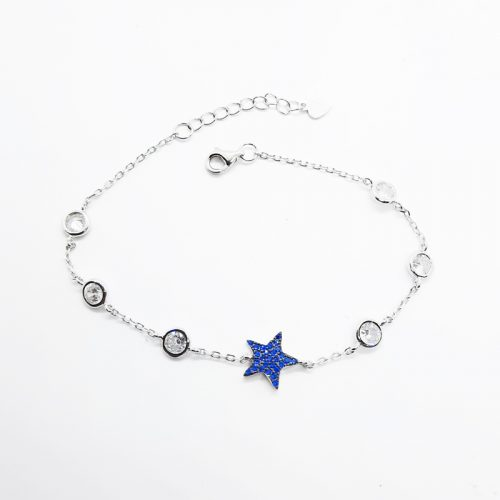 Rhodium Plated Sterling Silver Blue Star Bracelet
