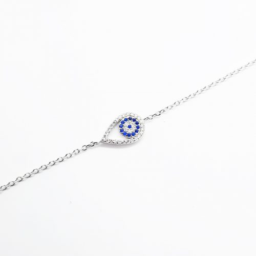 Sterling Silver Pear Shaped Evil Eye Bracelet