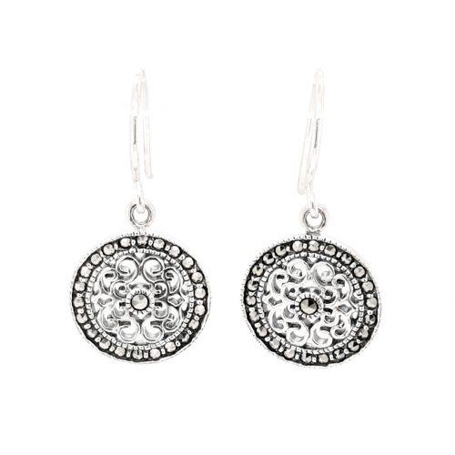 Filigree Marcasite Silver Earrings
