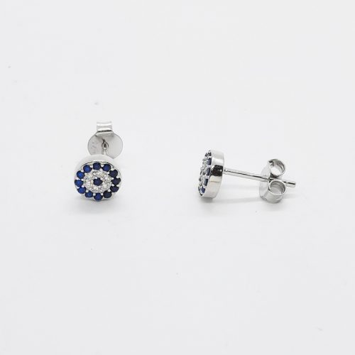 Rhodium plated 6 mm Evil Eye Silver Stud Earrings