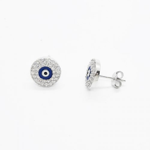 Rhodium plated 10 mm Evil Eye Silver Stud Earrings