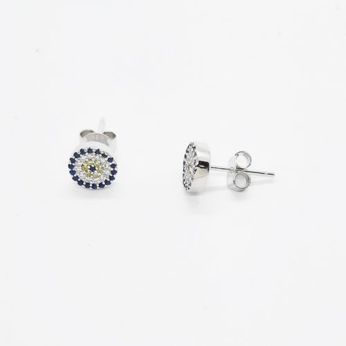 Sterling Silver Blue And Yellow CZ Evil Eye Stud Earrings