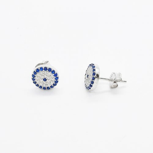 Sterling Silver Blue CZ Evil Eye Stud Earrings