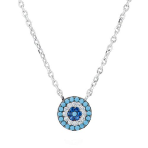 Rhodium Plated Sterling Silver Blue Evil Eye Necklace