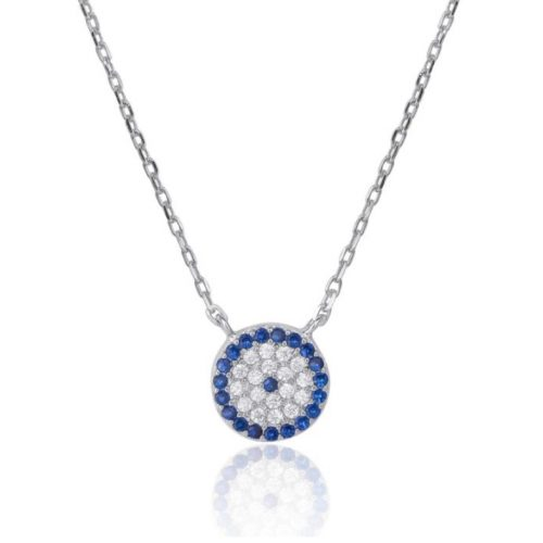 Rhodium Plated Sterling Silver Blue CZ Evil Eye Necklace