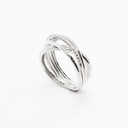 Rhodium Plated Sterling Silver CZ Crossover Ring