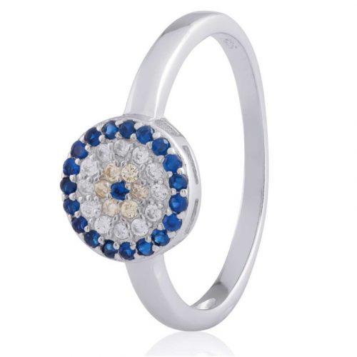 Rhodium Plated Sterling Silver CZ Evil Eye Ring