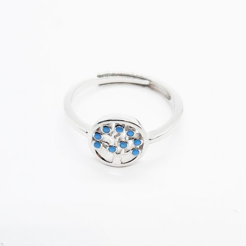 Sterling Silver Blue Crystal Tree of Life Ring