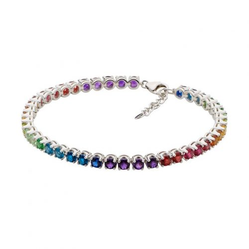 Silver Spectral Coloured CZ Bracelet
