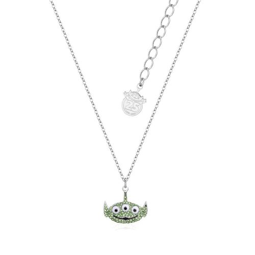 Disney Pixar Toy Story Alien Crystal Necklace White Gold