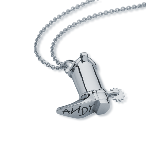 Disney Pixar Toy Story Woody Boot Necklace White Gold