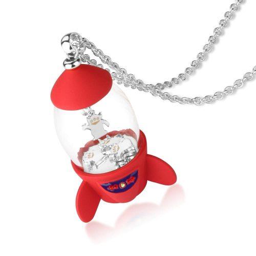 Disney Pixar Toy Story Pizza Planet Rocket Necklace White Gold