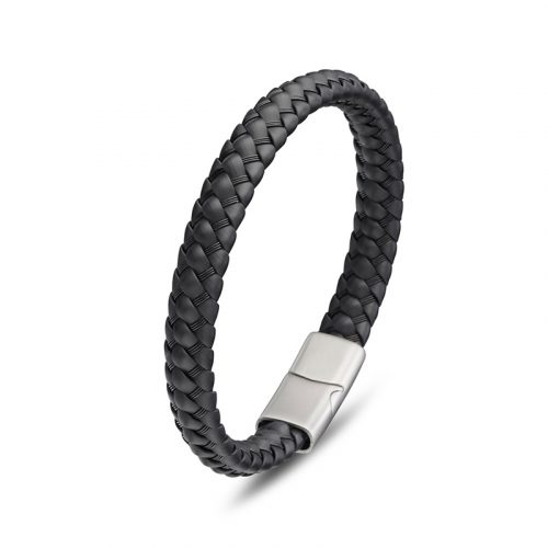 Black Neoprene Men's Steel Bracelet