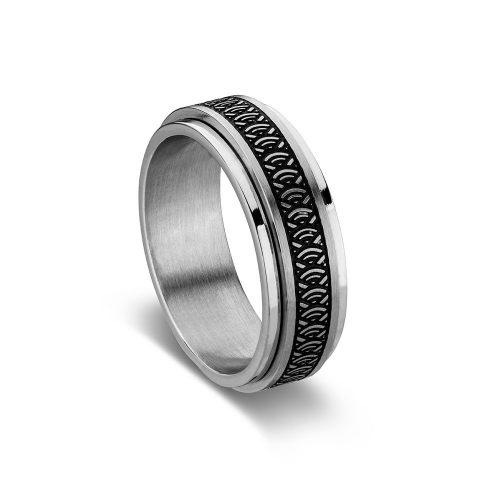 Stainless Steel Engraved Spinner Ring