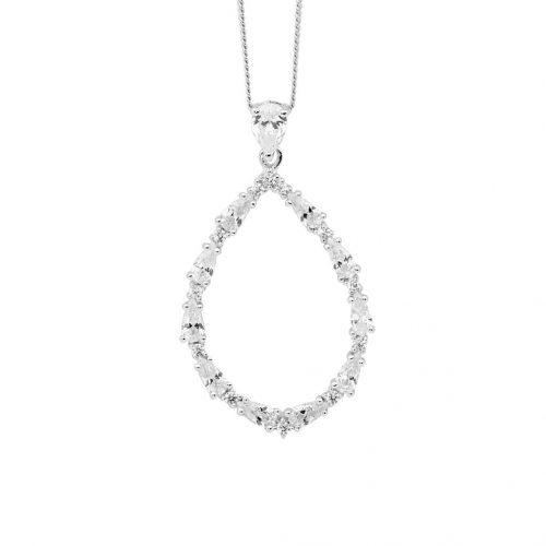 Sterling Silver Open Tear Drop Necklace