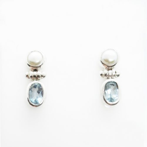 Sterling Silver Blue Topaz and FW Pearl Earrings