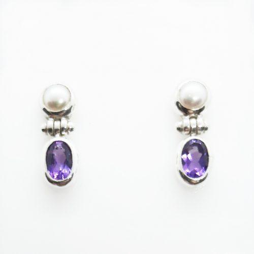 Sterling Silver Amethyst and FW Pearl Earrings