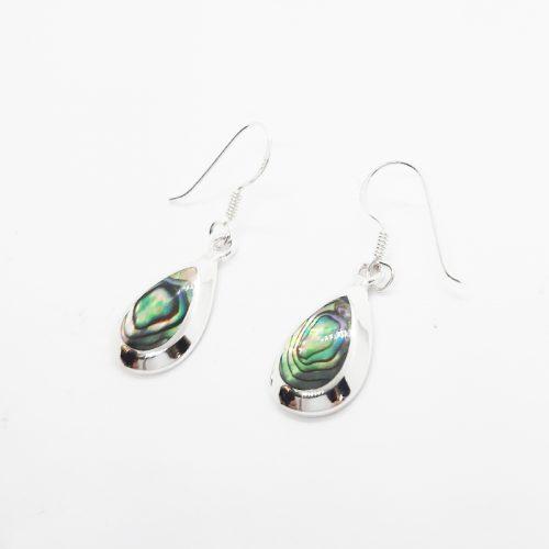 Paua Shell Tear Drop Silver Earrings