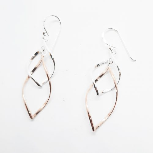 14K Rose Gold Plated Sterling Silver Layered Earrings