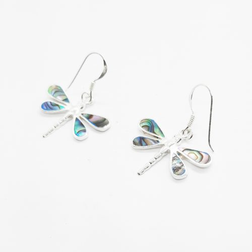 Paua Shell Dragonfly Silver Earrings