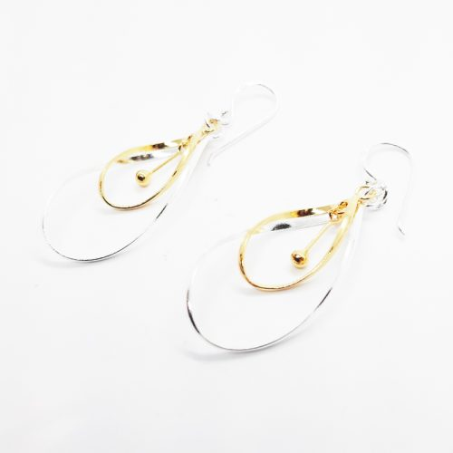 14K Yellow Gold Plated Sterling Silver Layered Earrings