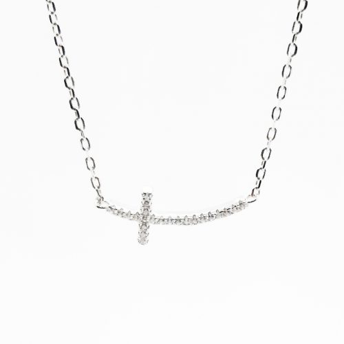 Sterling Silver CZ Laid Cross Necklace