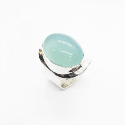Green Chalcedony Sterling Silver Adjustable Ring