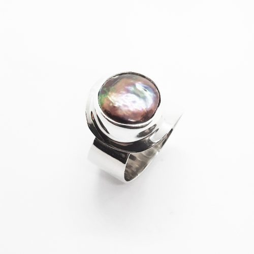 Freshwater Black Coin Pearl Silver Ring