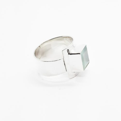 Aqua Chalcedony Sterling Silver Adjustable Ring