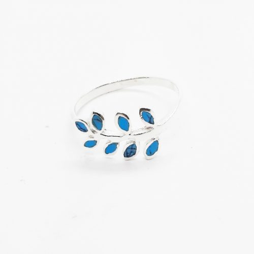 Turquoise Leaf Sterling Silver Ring