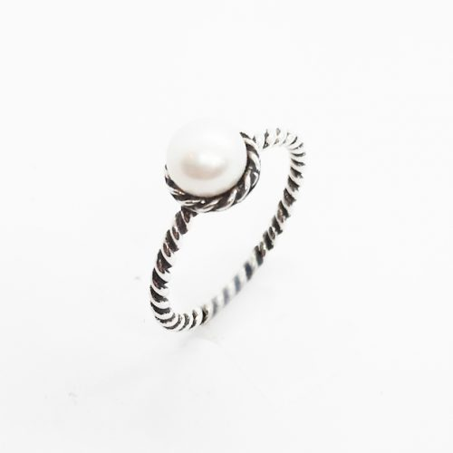 Fresh Water Pearl Oxidised Silver Ring