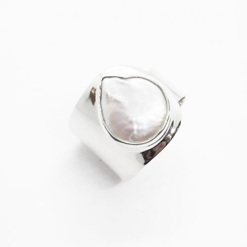 Natural Freshwater Coin Pearl Silver Ring