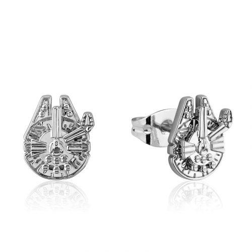 Star Wars Millennium Falcon Stud Earrings White Gold