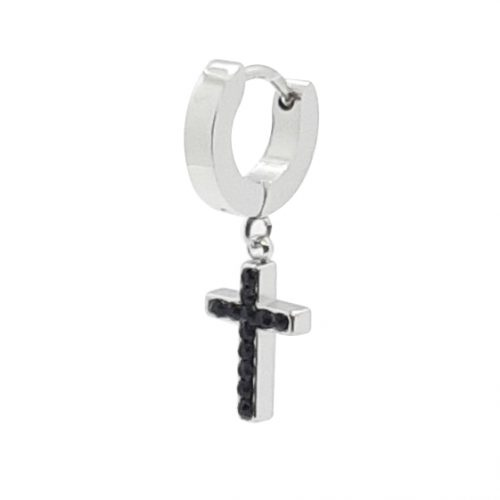 Black Crystal Cross Single Drop Earring