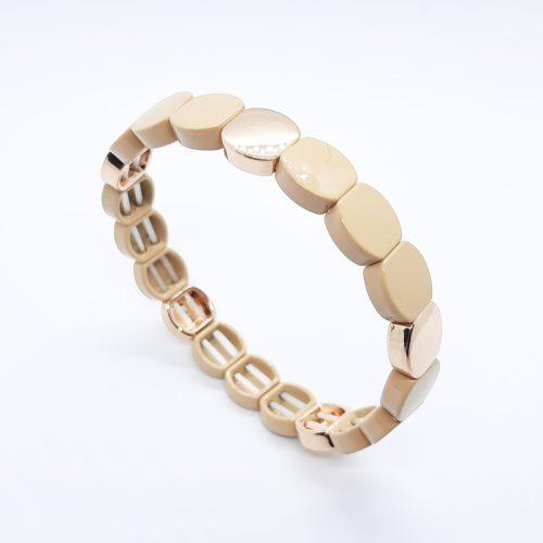 Enamel Metal Beads Bracelet Beige